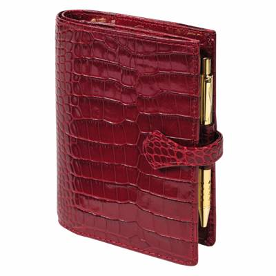 124255M SK12 ORGANISER POCKET VEAU CROCO SAVANNAH ROUGE + PATTE